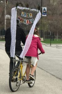 Just married bicycle flag